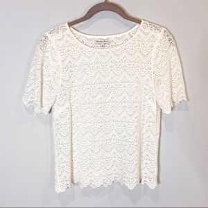 Broadway & Broome crocheted lace top